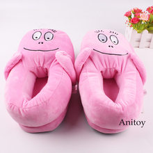 Anime Pluche Slippers Barbapapa Pluche Schoenen Winter Indoor Schoenen Warme Comfy Slippers Knuffels Poppen 28 cm(China)