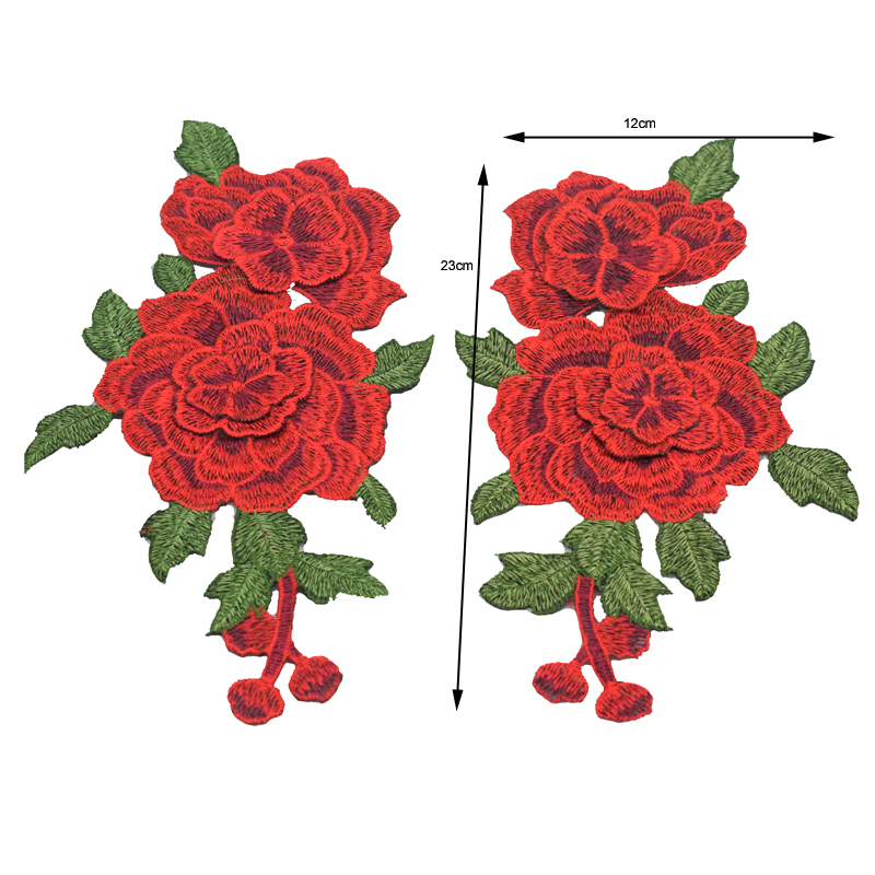 2pc / Set Broderi Rose Flower Sew On / Iron On Patch Applique diy - Konst, hantverk och sömnad - Foto 2