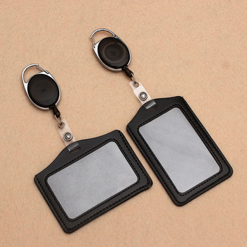 Black Retractable Pull Badge Reel ABS Plastic Character Scalable Student Nurse Exhibition PU Business Card Badge Holder