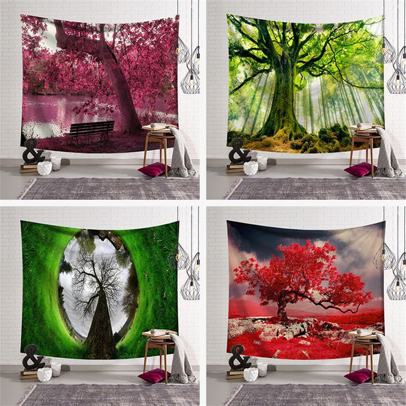 Northern European bedroom decorative cloth wall tapestry wall hanging cloth background aesthetic forest psychedelic tapiz pared