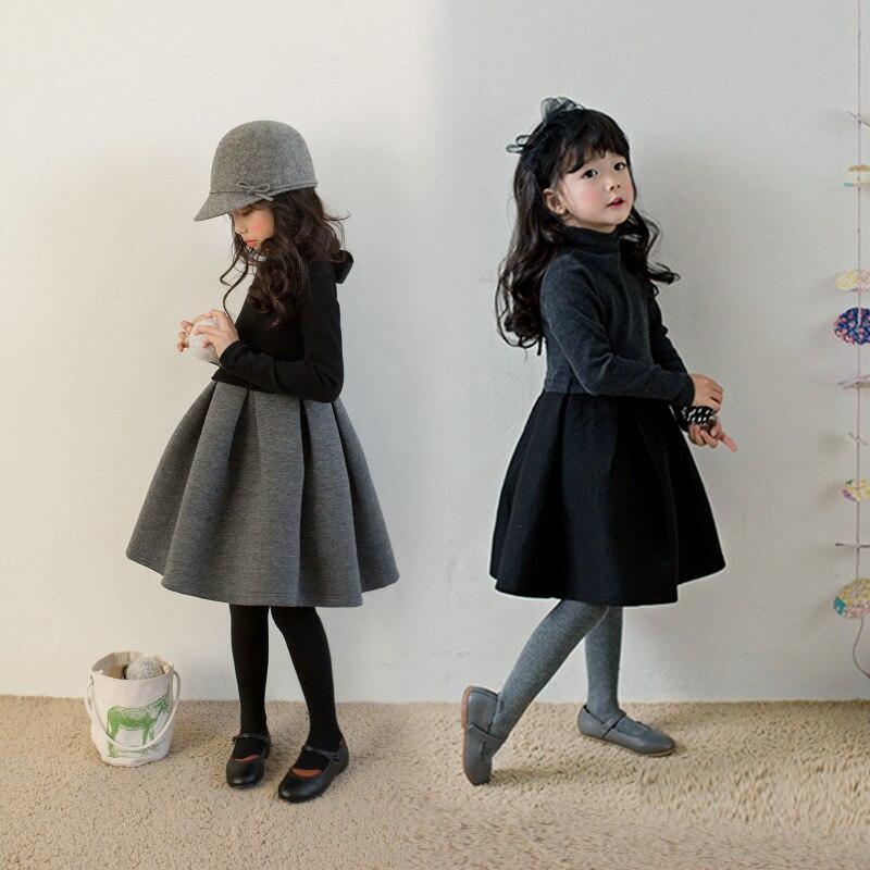 Флисовое теплое плотное рождественское платье для девочек подростков; цвет серый, черный; зимнее платье в стиле пэчворк для маленьких девоч