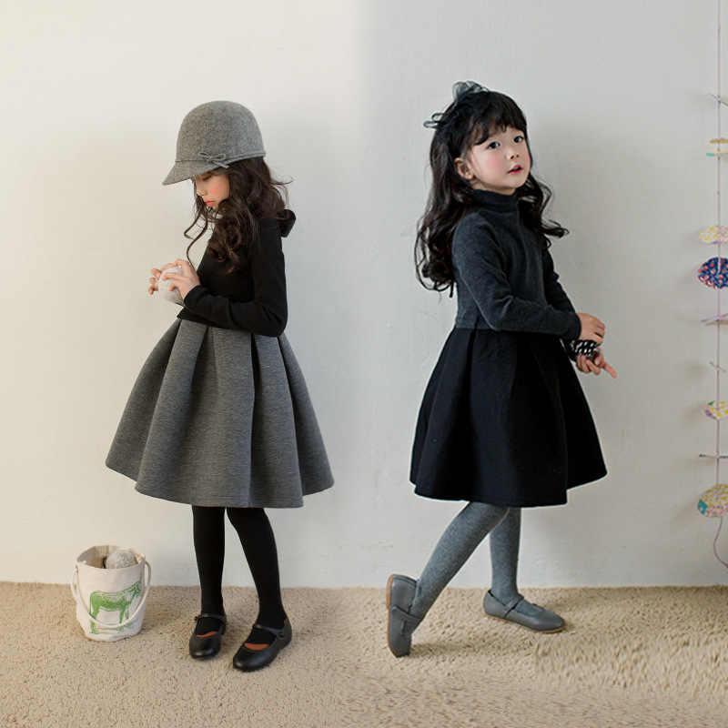 d627738167d2f39 Флисовое теплое толстое рождественское платье для девочек-подростков, серое  и черное лоскутное платье для