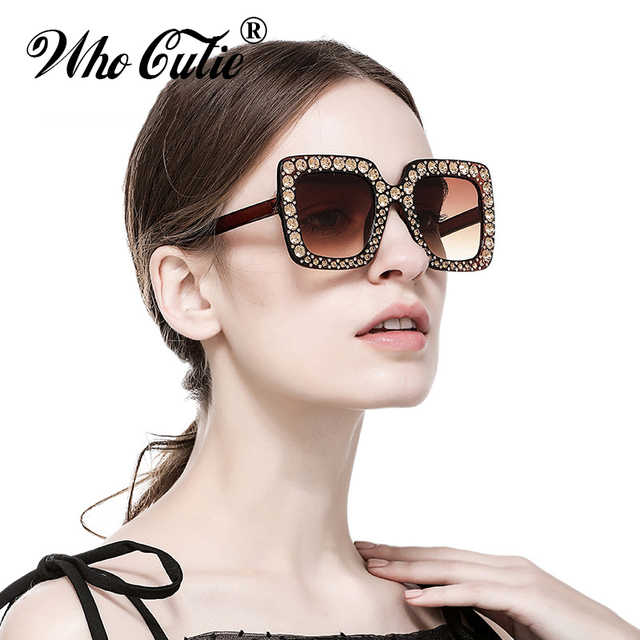 Glasses Women Vintage Big Sunglasses Frame Crystal Square 41Off Us7 Shades Embellished 007 In who Diamond 2018 Sun 98 Oversized Men Cutie Pink gyf6Y7b