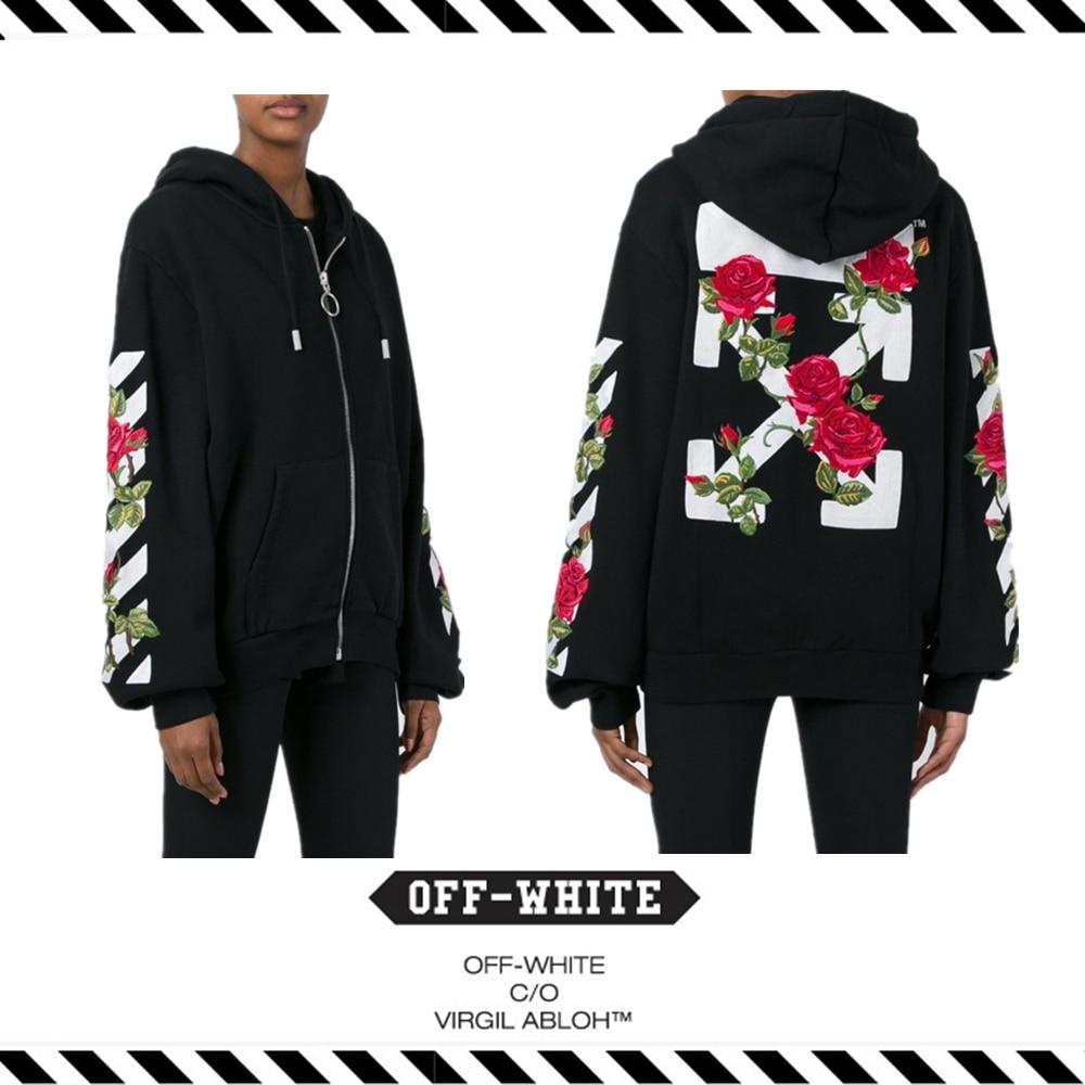 269d1c1d71dd Best Version 16 Fall Winter OFF WHITE Rose Flower Embroidery Zipper Hooded  Men Women Cardigan Long Sleeve Fleece Cotton Hoodies