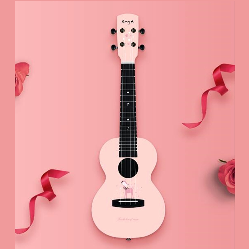 "Enya Girls Ukulele 23"" Pink color Plywood ukuleles Rosewood fingerboard String musical instruments"
