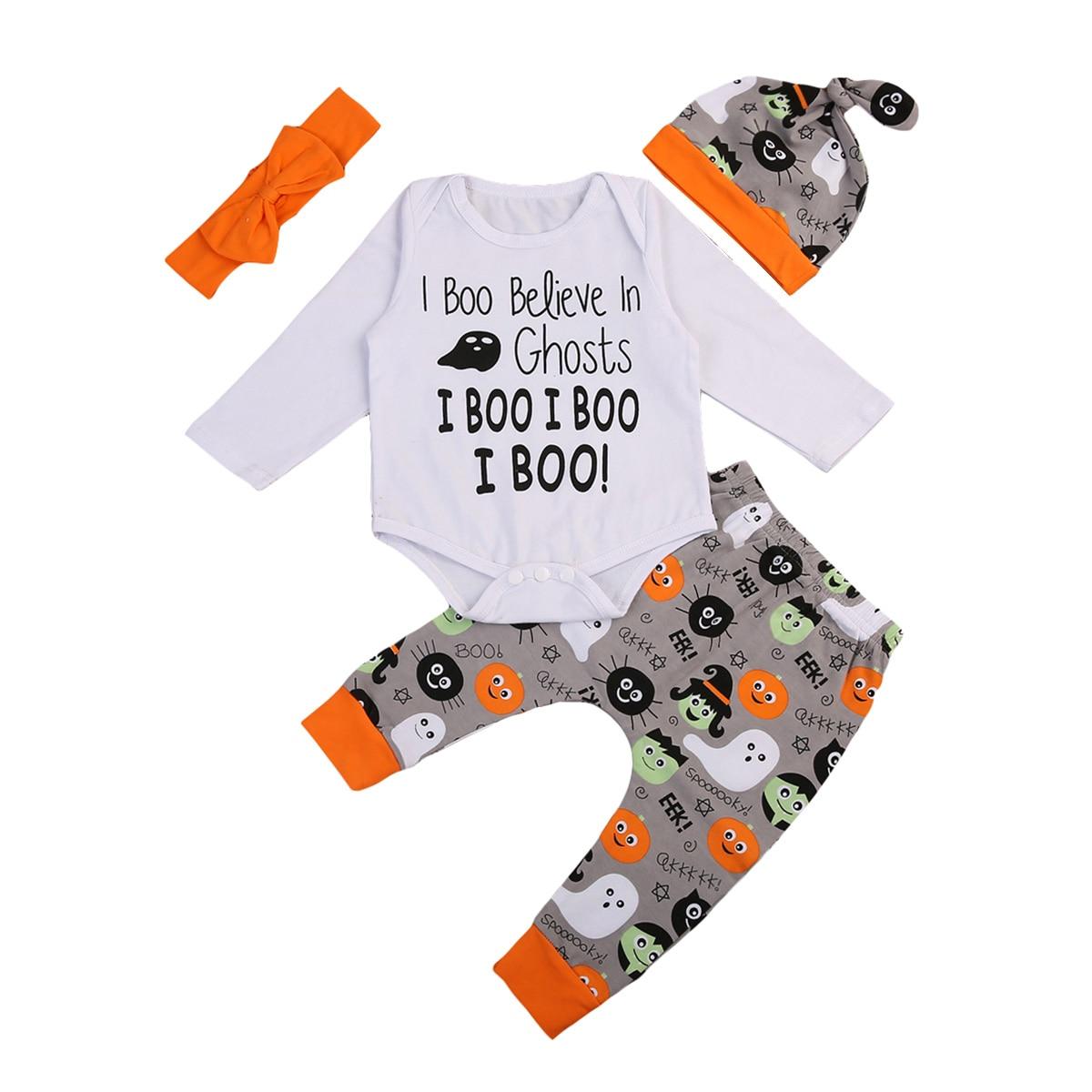 Halloween <font><b>Lovely</b></font> Infant <font><b>Baby</b></font> Girls <font><b>Boo</b></font> Letter Outfit Clothes Cotton Romper tops +Long Pumpkin Pants Set