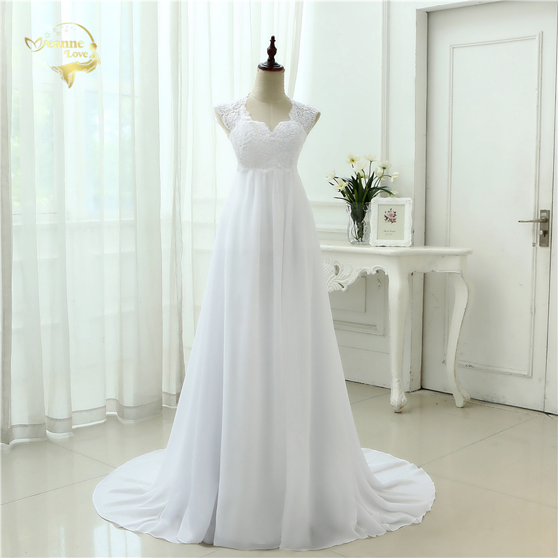 New Arrival 2019 Robe De Mariage White Ivory Appliques Lace Chiffon Empire Wedding Dress Bridal Gowns