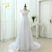 New Arrival 2017 Robe De Mariage White / Ivory Appliques Lace Chiffon A-Line Wedding Dress Bridal Gowns Vestido De Noiva 3399280