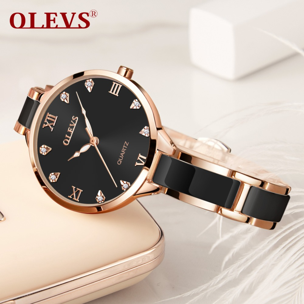 OLEVS Ladies Ceramic Watches Lady Rose Gold Women Dress Watch Luminous Black Steel Strap Womens Wrist Watches Gifts reloj mujer