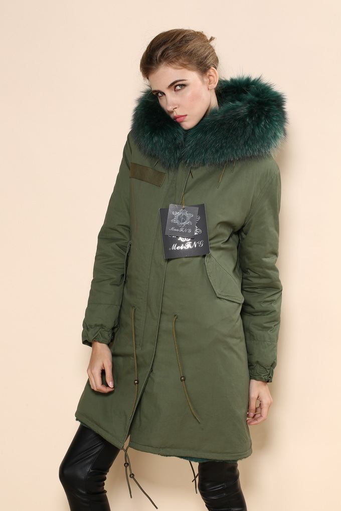 Hot selling high quality pure Cotton dark green women jacket real raccoon  fur hooded coats for ladies 09e609b75e2c