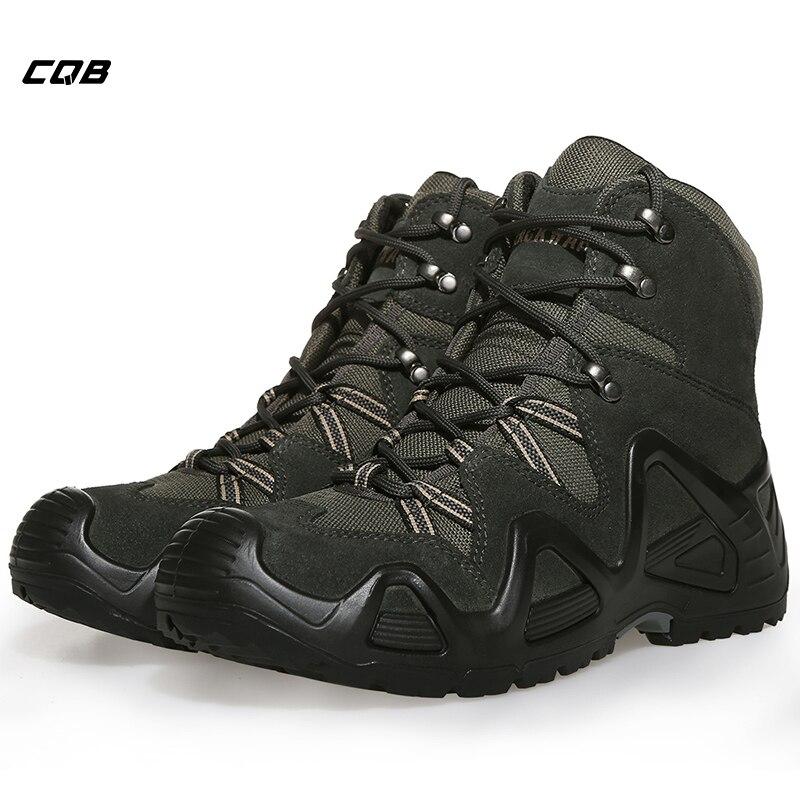CQB deportes al aire libre táctico botas de escalada de montaña hombres zapatos resistentes al desgaste antideslizantes zapatos de senderismo de gran tamaño para senderismo