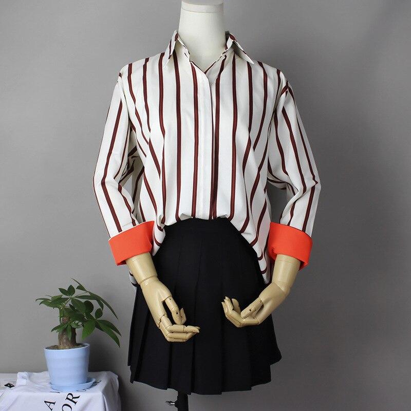 Blusa limitada Collar completo Plus tamaño de Otoño de 2018 las nuevas mujeres de la solapa de la camisa a rayas Mujer Color de manga larga