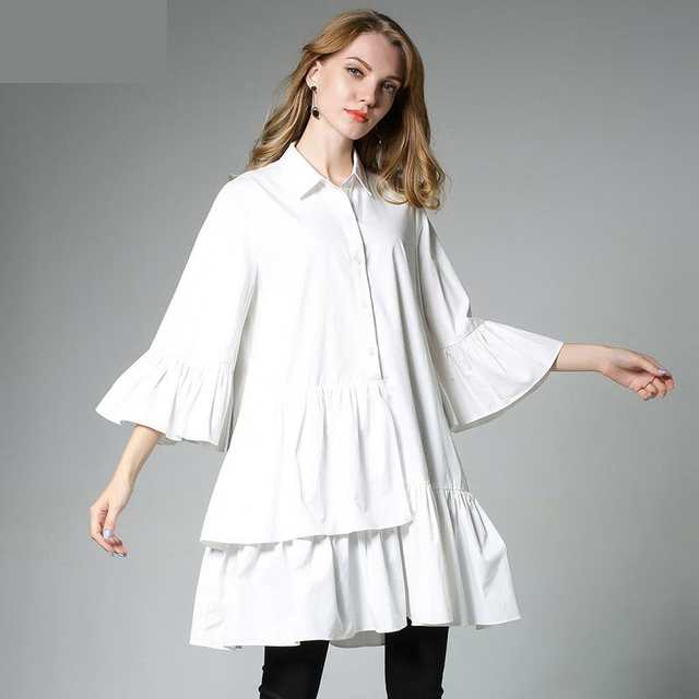 Online Shop Plus Size 4XL Women Ruffles Pleated Loose Blouse Dress ...