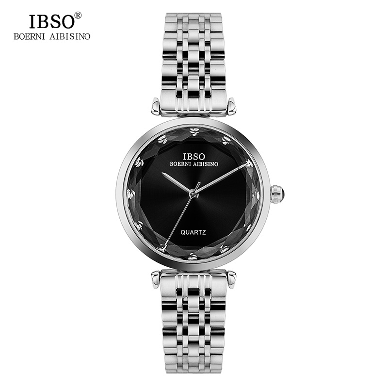 IBSO High Quality Stainless Steel Women Watches 2018 Diamond Cut Style Glass Quartz Watch Women Casual Ladies Watch Montre Femme 2016 women diamond watches steel band vintage bracelet watch high quality ladies quartz watch