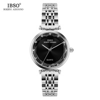 IBSO High Quality Stainless Steel Women Watches 2019 Diamond Cut Style Glass Quartz Watch Women Casual Ladies Watch Montre Femme