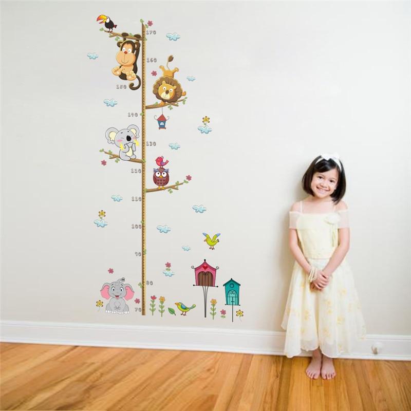 Cartoon Animals Lion Monkey Owl Elephant Height Measure Wall Sticker For Kids Rooms Growth Chart Nursery Room Decor Wall Art 2