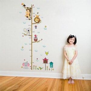 Image 2 - Cartoon Animals Lion Monkey Owl Elephant Height Measure Wall Sticker For Kids Rooms Growth Chart Nursery Room Decor Wall Art