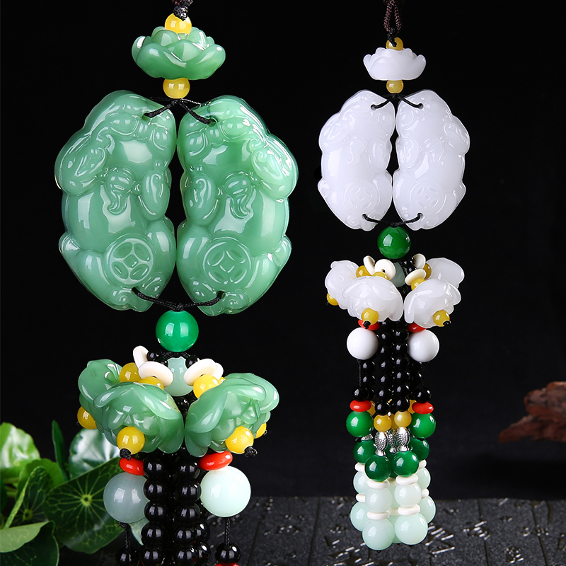 Car car creative Chairman Mao stone stone lotus female car ornaments Zhaocai brave peace diy real stone Obsidian jewelry penda fish stone lotus area rug