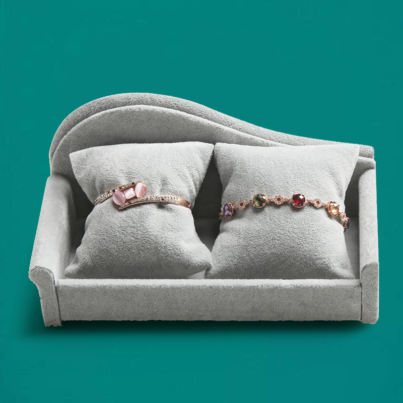 Grey Ice Velvet Bangle Bracelet Jewelry Display Stand Soft Sofa 2 Pillows Exhibitor Watch Carrying Storage