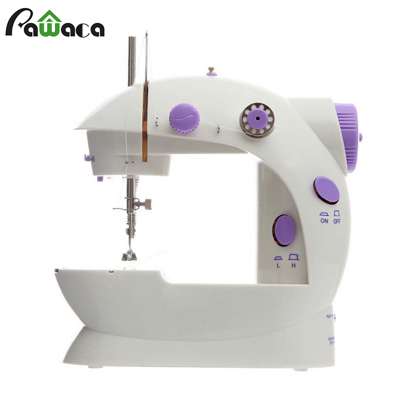 Mini Hand / Foot Pedal Sewing Machines Dual Speed Double Thread Portable Mini Electric Motor Sewing Machine LED Light Overlock