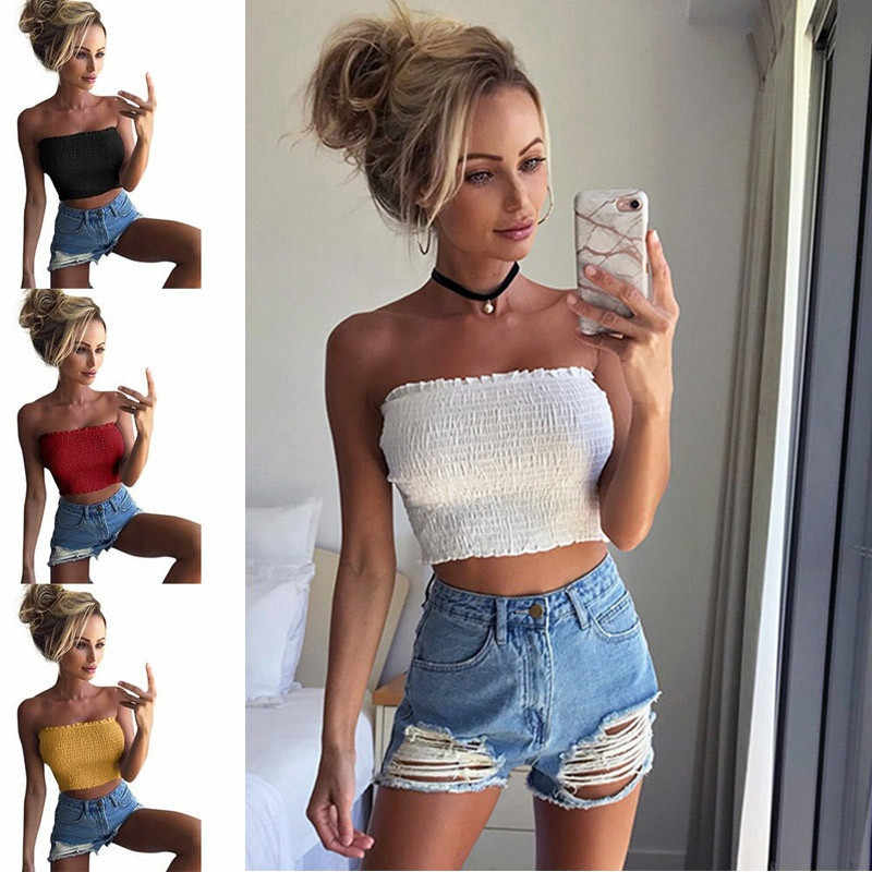 2019 Summer Women Strapless Elastic Boob Bandeau Tube Tops Bra Lingerie Breast Wrap Simple Basic Blusa Mujer crop top women  F4