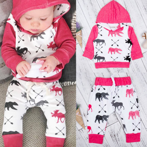Fashion Toddler Baby Boys Tops Long Sleeve Hooded Coat Pants Outfits 2Pc Set Clothes 0-3T