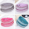 shining type multi color blue red pink purple leather pave small round alloy nail rhinestone charms adjustable bangle for women