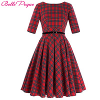 Women Summer Retro Vintage Dress Plus Size Clothing Cotton Big Swing Party Robe Rockabilly 50s Plaid