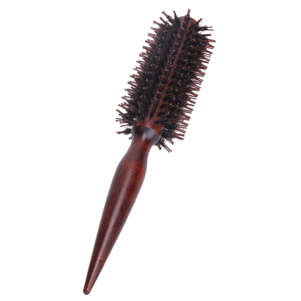 Rulle Runda Hårborste Kamborste Hårvård Verktyg Trähantering Naturlig Bristle Curly Hair Brush Fluffy Comb Hairdressing Tool