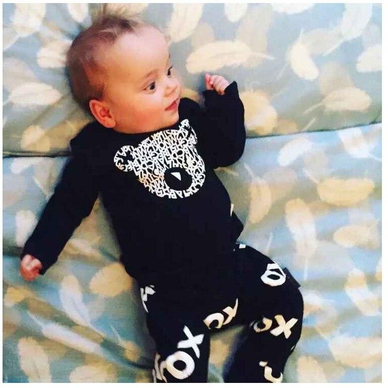 197bb96707411 2019 الخريف جديد طفل رضيع الملابس مجموعة أزياء القطن طويل الأكمام إلكتروني  تي شيرت + السراويل 2 pcs الوليد طفل رضيع الملابس مجموعة