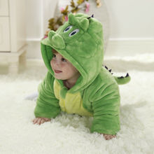 Winter Cotton Baby Girl Romper Overalls Green Diasour
