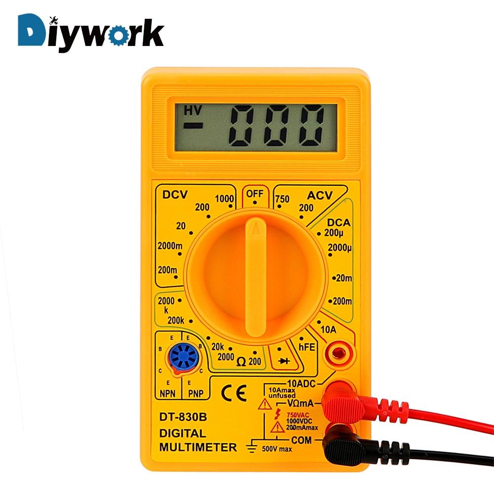 New Yellow Digital Multimeter Dt 830b Electric Voltmeter Ammeter Ohm Multitester Avometer 830 B Diywork Ohmmeter Volt Tester Lcd Auto Range Analysis Instrument Electrical