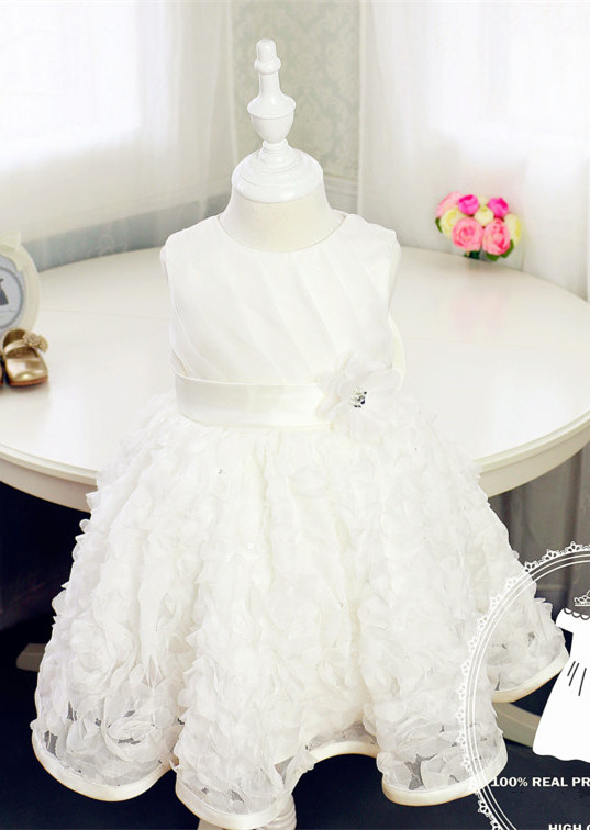 Ivory/White Full Lace Flower Girl Dress with sash Baby Girl Dress for Birthday Party tiered Christening baptism gown dress