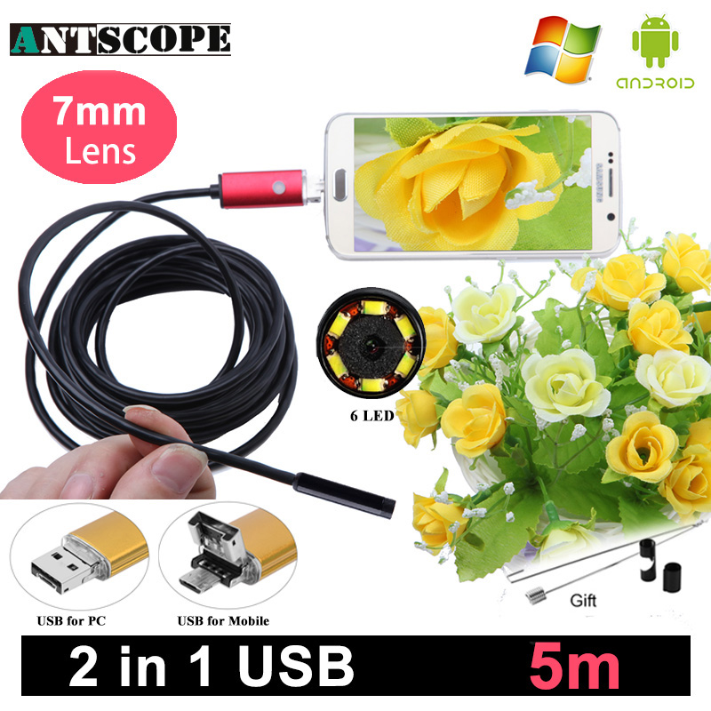 Antscope 7mm Length USB Android Endoscope Camera Red 5m Computer and Android Phones Borescope Camera Snake Tube Endoskop antscope 7mm 2in1 usb endoscope android camera 5m 10m snake tube pipe phone pc usb endoskop inspection borescope mini camera