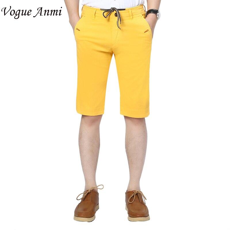 Men Shorts Straight Knee Length Zipper Shorts Plus Size 2016 Brand Fashion Casual Bermuda Masculina Yellow Green Blue Orange