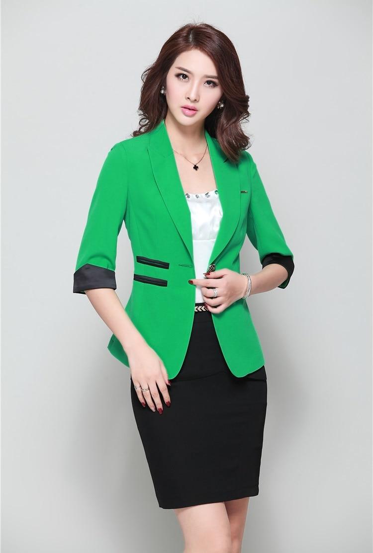 abd143f7c Summer Formal Female Skirt Suits for Women Work Wear Sets Green Blazer  Ladies Business Suits Jacket Office Uniform Style en juegos de falda de  Ropa de mujer ...