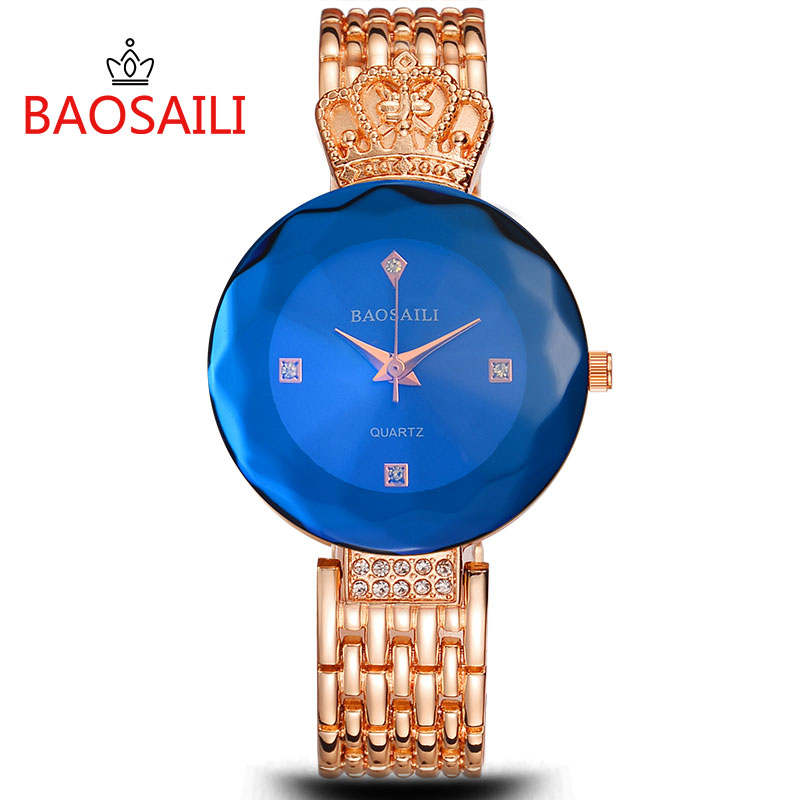 BAOSAILI 958 New Style Blue Gold Women Luxury Watches Fashion Dress Creative Quartz Watch Minimalist Lady Bracelet watch 20 2016 new watch creative fashion lady love rose gold bracelet watch korea version of the trend of personalized watches