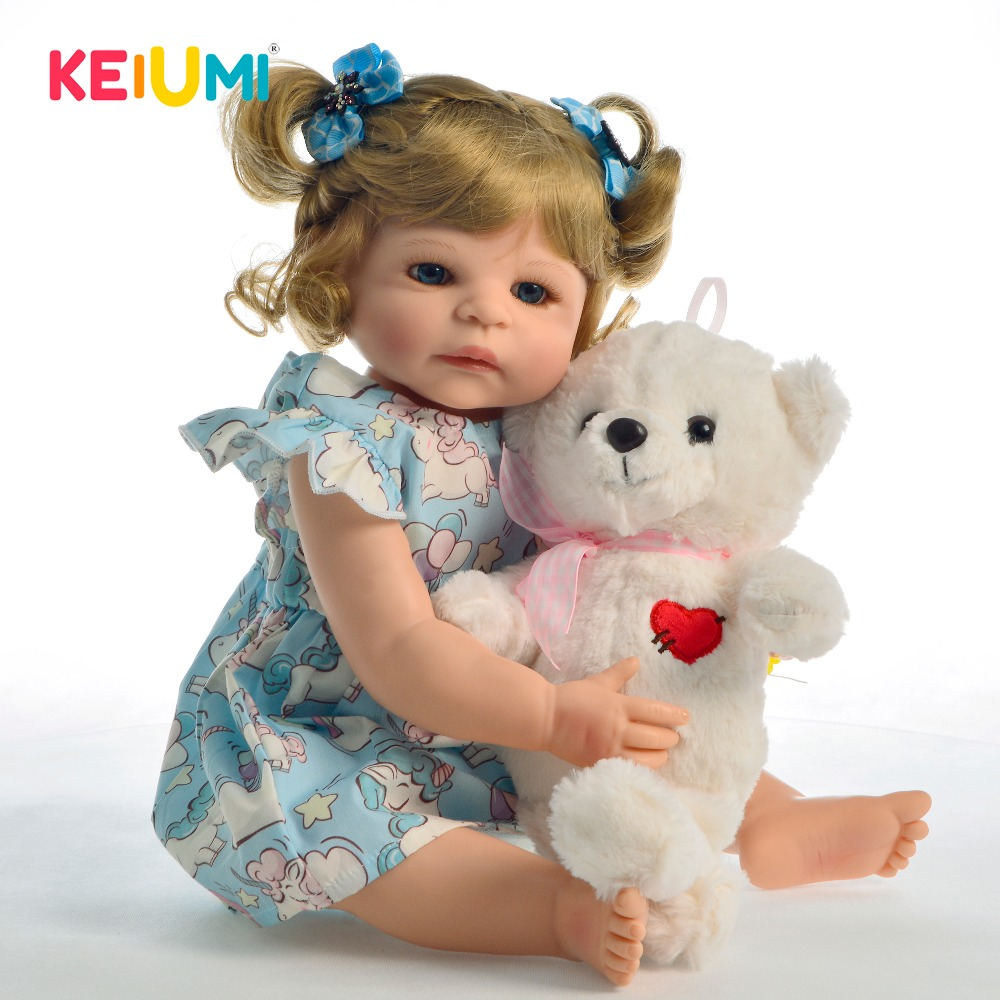 KEIUMI Hot Sale 22 Inch Full Silicone Body Reborn Baby Dolls Girl With Bear Toys Lifelike Princess Reborn Doll For Toddler GiftKEIUMI Hot Sale 22 Inch Full Silicone Body Reborn Baby Dolls Girl With Bear Toys Lifelike Princess Reborn Doll For Toddler Gift