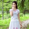 Étnico Bordado Design Fino Tops Tamanho Grande Camisa Das Mulheres T de Verão Nova Moda 2017 Algodão Topos Casaul