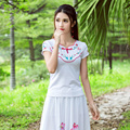 Ethnic Embroidery Slim Design Tops Large Size Women T Shirt Summer New Fashion 2017 Cotton Casaul Tops