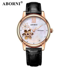 ABORNI Vintage Flower Women Watches Mechanical Automatic Luxury Skeleton Gold Ladies Bracelet Wristwatch Leather Female Clock