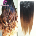 7 pçs/set ombre brazillian virgem cabelo reta de seda ombre clipe de extensões de cabelo humano clipe ins extensão do cabelo 70 g para 140 g