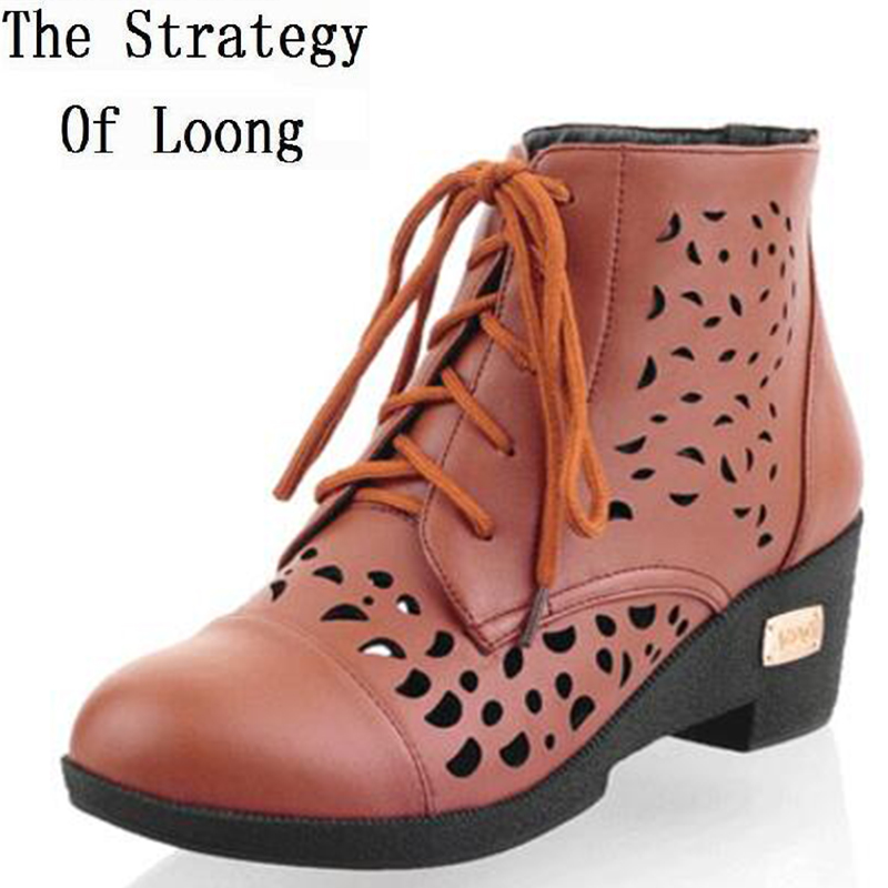Chunky Heel Cut Out Ankle Martin Boots Women New Spring Summer Autumn Lace-up Shoes ankle boots for women Plus Size 34-43 euro style spring autumn women ankle boots platforms square heel ankle boots lace up fashion motorcycle boots martin shoes