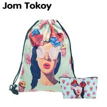 """Jom Tokoy"" 2 PCS 3D spausdinimas ""Drawstring bag"" rinkinys ""Combinationwith Garlands girl"" ""School Backpack"""