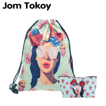 Jom Tokoy 2 PCS Heat Transfer Printing Drawstring bag Set Combinationwith Garlands girl School Backpack