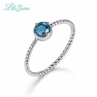 L&Zuan Sterling silver jewelry 14K White Gold Simple Rings for Women Sapphire Jewelry Wedding Accessories Fine Jewelry 0013 1