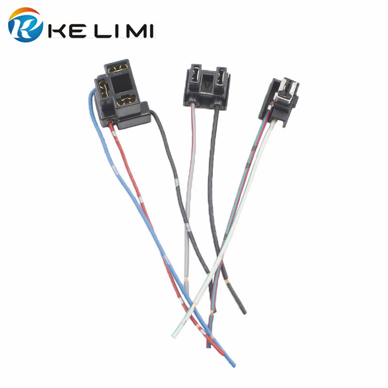 KELIMI H1 H4 H7 Female Adapter Sockets Pigtail Harness Plug Connector For H1 H4 H7 Halogen Hid Led Retrofit