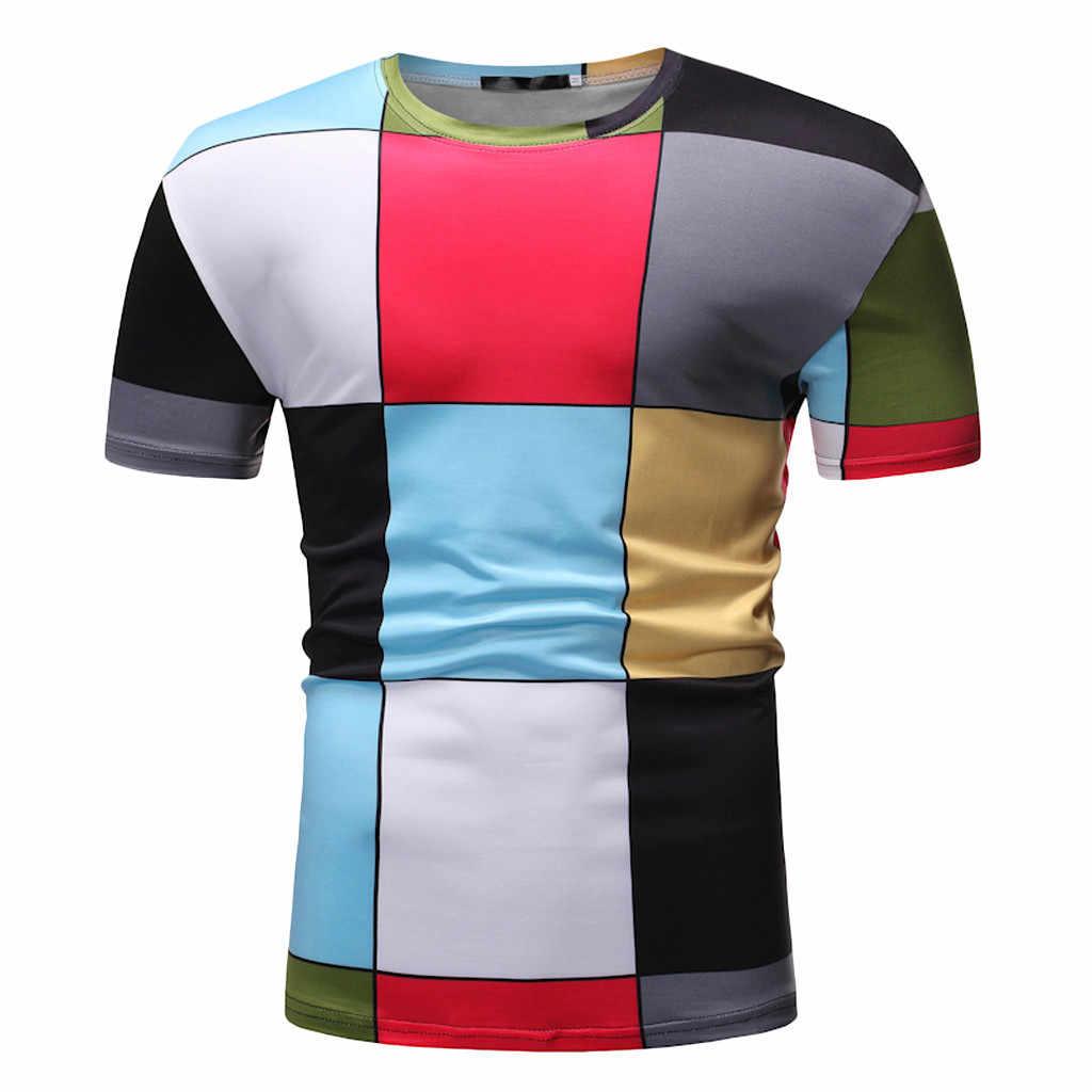 Feitong 2019 Новая летняя Модная тонкая Лоскутная лента с короткими рукавами, Мужская футболка, Повседневное платье, Высококачественная Мужская футболка