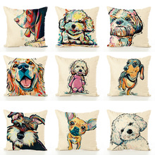 New 14 Style 45*45cm Cute Dog Animal  Pattern Cotton Linen Throw Pillow Cushion Cover Case Car Home Sofa Decorative Pillowcase недорого
