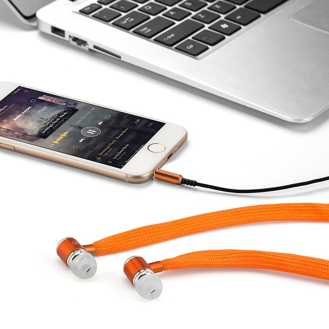 Headset Music Earpieces with Microphone for iPhone Xiaomi Samsung Sport Shoelaces Earphone Stereo Sound Metal Bass Headphones